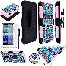 Kyocera Hydro Reach C6743 Hydro View C6742 ITUFFY (TM) 3items Combo: Screen Protector + Stylus Pen + Holster Combo Case + Soft Rubber Skin Built-in KickStand Impact Armor (Aztec Flower)