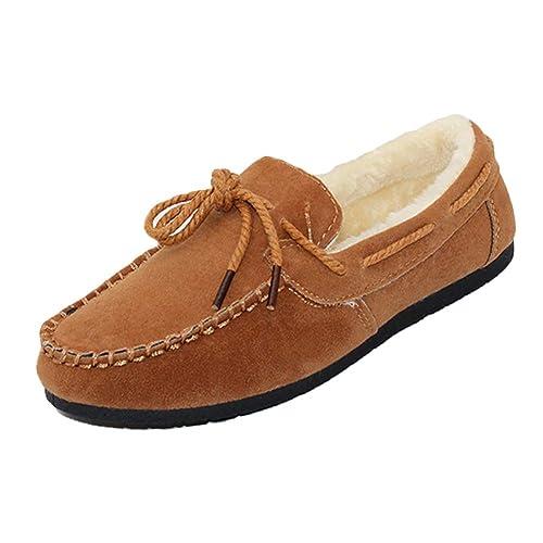 Tenthree Calentar Zapatos Peluche Mocasines - Ante Piel Calentar Zapatilla Plano Ocio Conducción Chícharos Mujer Corto Invierno Botas De Nieve: Amazon.es: ...