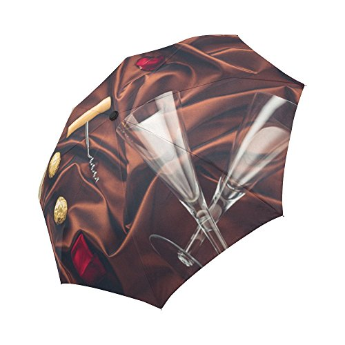 Strawberry Petal (D-Story Rose Wine Petals And Strawberry On Satin Windproof Auto-Foldable Travel Rain Umbrella)