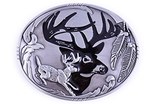 Silver Jungle Buck Design Cowboy Belt Buckles