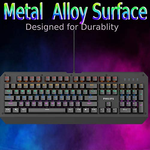 Philip RGB LED Backlit Mechanical Gaming Keyboard with Anti-Ghosting Full Key N-Rollover-Metal Base with Clicky Blue Switches for Windows, Gaming, PC 51BXcmUyhNL