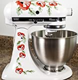 kitchenaid mixer flower - Orange Poppy Flowers Watercolor Kitchenaid Mixer Mixing Machine Decal Art Wrap