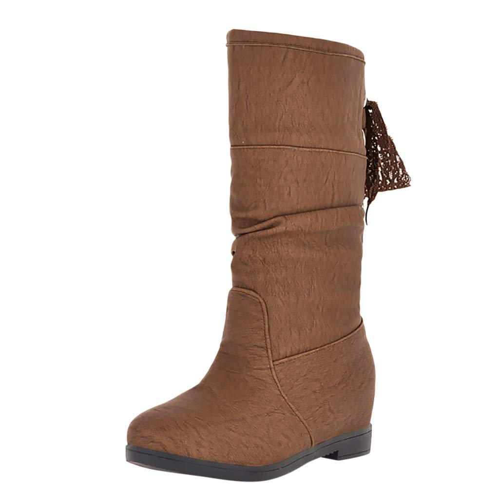 HOSOME Women Retro Thick High Heel Zipper Single Boot Student Large Size Ankle Boots Brown by HOSOME Women Shoes
