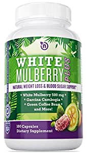 White Mulberry Garcinia Cambogia Extract with Green Coffee Bean Effective Best Diet Pills Really Work Fast As A Weight Loss Supplement and Fat Burning Pill Capsule - Fully Guaranteed 180 Veggie Caps
