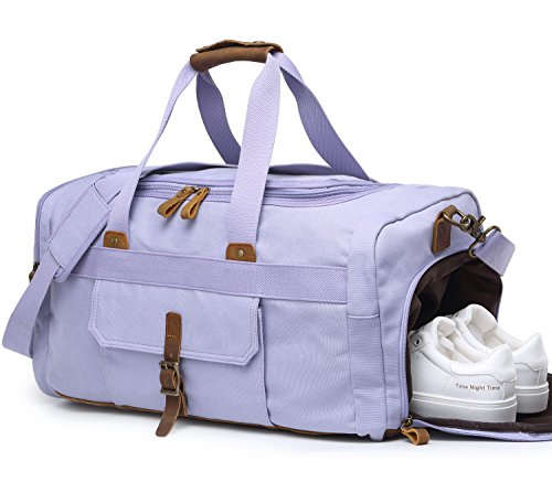Womens Duffle - Weekender Overnight Duffel Bag with Shoes Compartment for Women Men Canvas Weekend Travel Tote Carry On Bag