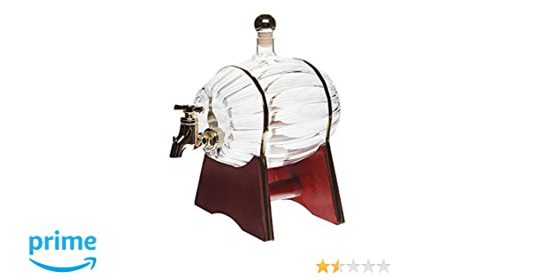slkfactory Barril para Vino/Whisky/Cerveza con Tapón, Soporte y Grifo, de 500 ML, Botella de Vidrio soplado a Mano para Licor y orujo DE 16,5 cm de Altura: ...
