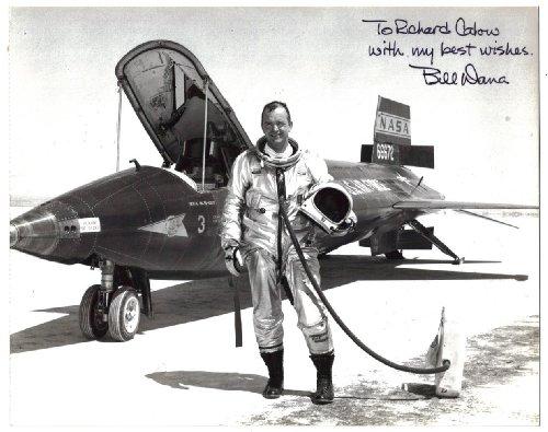 Bill Dana / test pilot for F15 / X-15 HiDEC (ECN-1716) / signed photgraph next to the craft