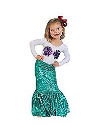 Doinshop 1Set Novelty Kids Girl Shell Print T-shirt Tops+Mermaid Skirt Outfits