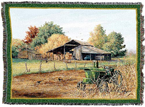 Throw Farm - Pure Country Weavers | End of Harvest Woven Tapestry Throw Blanket with Fringe Cotton USA 72x54