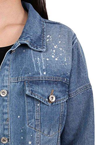 PILOT® pintura de gran tamaño salpicado arrancó la chaqueta de mezclilla mezclilla