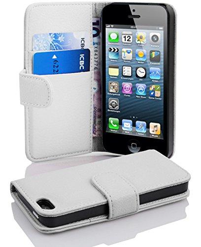 reputable site b5051 ea185 Cadorabo Case Works with Apple iPhone 5 / iPhone 5S / iPhone SE in Snow  White (Design Book Structure) – with 2 Card Slots – Wallet Case Etui Cover  ...