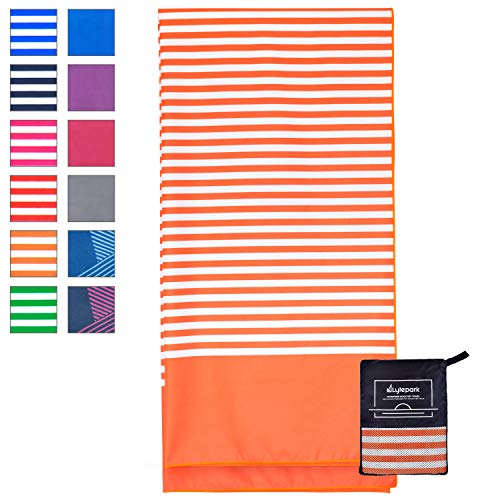 Microfiber Beach Towel for Travel - Oversized XL 70 x 35 Inch - Quick Dry, Sand Free, Extra Large, Lightweight with Zipper Bag - Compact, Perfect for Travel Towel and Beach Blanket (Orange Sunset)