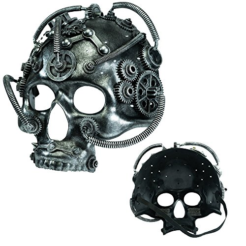 Giant Hippo Toy Co. Steampunk Mechanical Masquerade Mask for Men - Perfect for Halloween/Mardi Gras/Cosplay - Costume Accessory (Silver Mainbrain)]()
