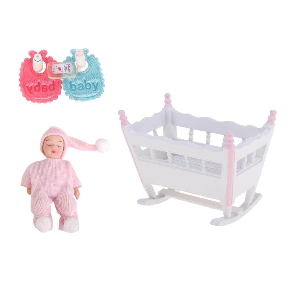 Prettyia Miniature Baby Nursery Accessory Cradle and Sleeping Baby Doll 1/12 Scale