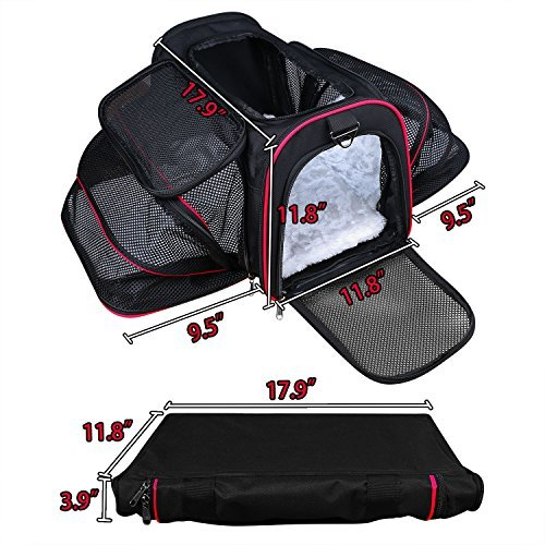 Airline Approved Pet Carrier, TAOTENK Foldable Dog Travel Carrier with Pocket and Removable Mat – Two Side Expandable Extra Spacious Soft Sided Animal Cat Carrier by TAOTENK (Image #1)