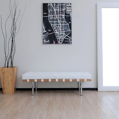 Andalucia 50-inch Modern White Leather Bench (Bench Barcelona)