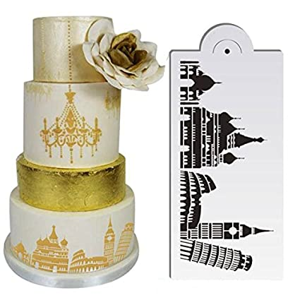 Amazon.com: Bakeware & Accessories - 5pcs/Set Plastic Civic Architecture Stencils Fondant Cake Mold Cookie Baking Mould Decorating Tool - Cake Stencils ...