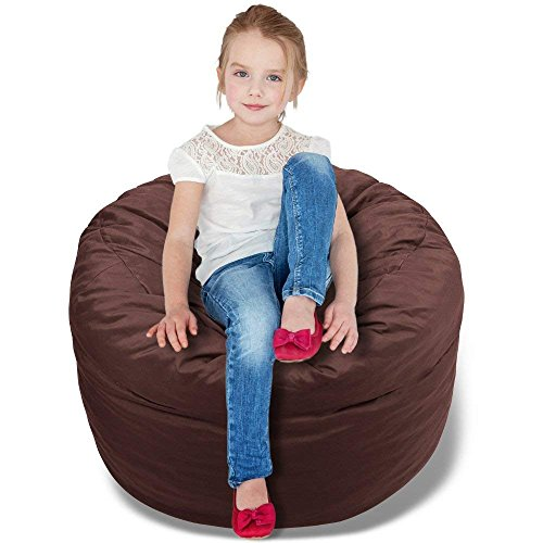 BeanBob Bean Bag Chair (Espresso Brown), 2.5ft - Bedroom Sitting Sack for Kids w/Super Soft Foam - Bean Brown Bag