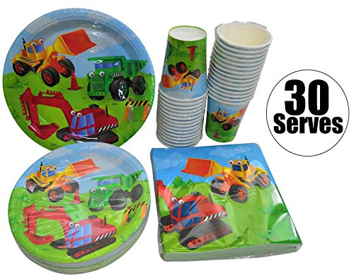 Serves 30 | Complete Party Pack | Kids Construction Birthday Party Supplies | 9
