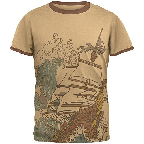 Old Glory Pirate Ship Wave Mens Ringer T Shirt Tan-Brown MD
