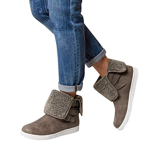 Womens High Top Snow Boots Platform Sneakers Fold Down Fleece Buckle Strap Booties -