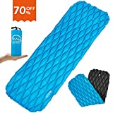 LATTCURE Inflatable Sleeping Pad Lightweight Compact Comfy Waterproof Air Camping Mat - Best Kit with Sleeping Bag Hammock Tent for Picnic Backpacking Travel Hiking Camping and Other Adventures-Blue