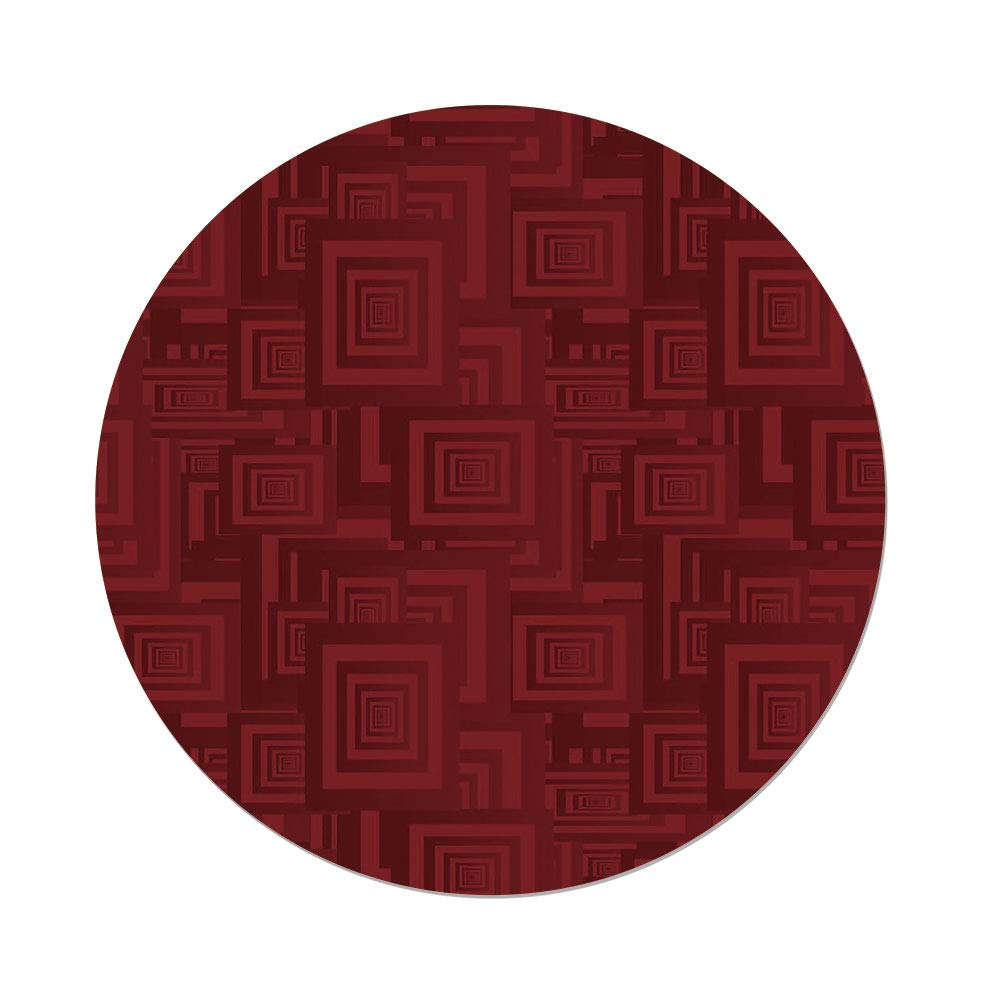 Polyester Round Tablecloth,Maroon,Nested Rectangles Lapping Over Geometrical Repeating Shapes Vivid Colored Illustration Decorative,Maroon,Dining Room Kitchen Picnic Table Cloth Cover,for Outdoor Ind