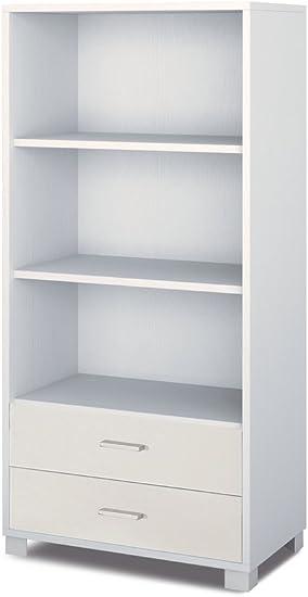 Mueble estantería con 2 cajones y 3 Cavidades a día de blanco ...