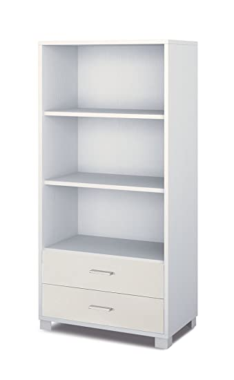 Mobile libreria con 2 cassetti e 3 spazi a giorno in bianco fiammato ...