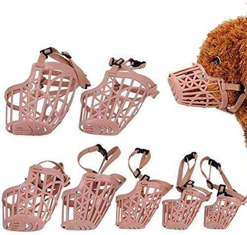 Yusylvia(TM)7pcs/set Plastic Basket Adjustable Dog Muzzle Mask Cage Mouth Mesh