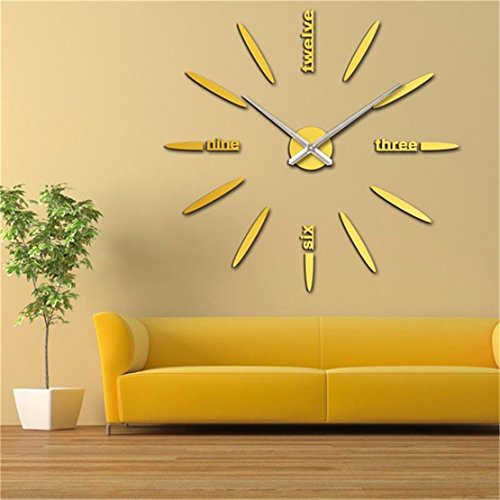 Netmetoo DIY 3D Large Wall Clock Home Decor Sticker Gold Mirror