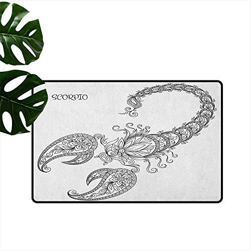 RenteriaDecor Zodiac Scorpio,Kitchen Mat Hand Drawn Line Art Style Floral Animal with Inscription Tattoo Design 18