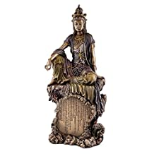 Seated Water and Moon Kuan-yin Statue with Heart Sutra in Chinese, Real Bronze Powder Cast 16-inch Sculpture