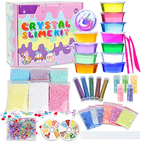 LOYO Slime Kit for Girls Boys-DIY Slime Making Kit Supplies with Kids Clear Crystal Slime Includes Big Foam Balls to Make Your Own Slime