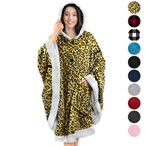 PAVILIA Angel Wrap Hooded Blanket | Throw Poncho Wrap with Soft Sherpa Fleece | Plush, Warm Wearable Blanket with Pockets for Women Gift (Cheetah)
