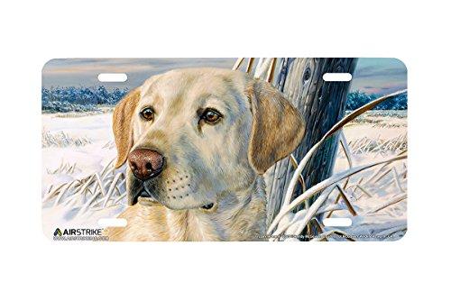 Airstrike Yellow Labrador Retriever Dog License Plate Frozen Moment Made in USA (Made of - Labrador Accessories Decorative Retriever