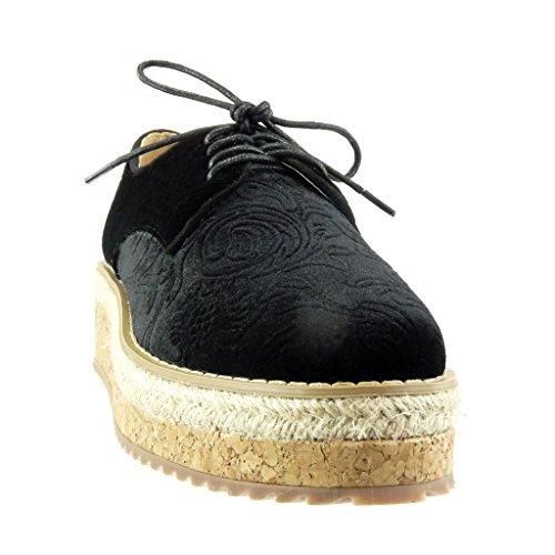 Angkorly - Scarpe da Moda scarpa derby Espadrillas zeppe donna fiori ricamo sughero Tacco zeppa piattaforma 5 CM - Nero