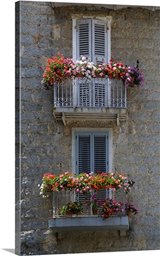 Gallery-Wrapped Canvas entitled France, Corsica, Flower Boxes On Window Balconies, House In Sartene by Scott T. Smith 18''x30'' by greatBIGcanvas