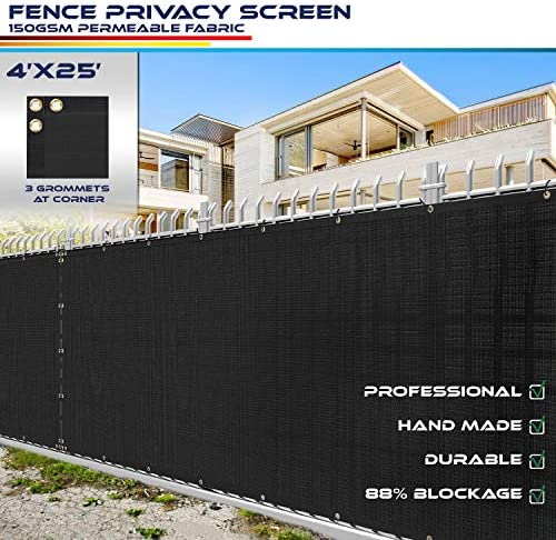 Amazon Com 4 X 25 Privacy Fence Screen In Black With Brass Grommet 85 Blockage Windscreen Outdoor Mesh Fencing Cover Netting 150gsm Fabric Custom Outdoor Decorative Fences Garden Outdoor