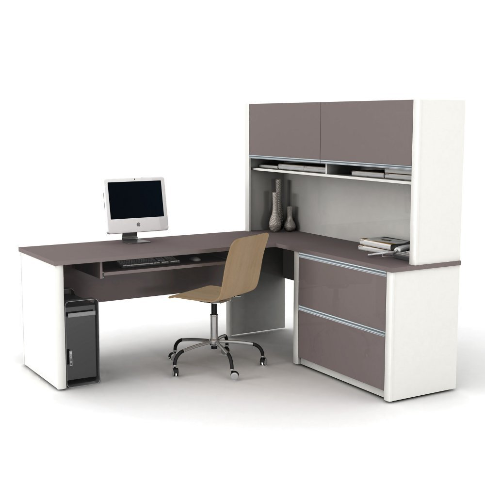 Bestar Connexion L-Shaped Desk with Hutch - Sandstone - Slate