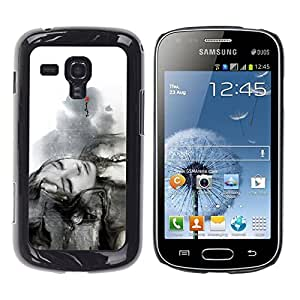 LECELL -- Funda protectora / Cubierta / Piel For Samsung Galaxy S Duos S7562 -- Beautiful Black & White Girl --
