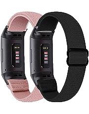 2 stuks elastische horlogeband compatibel met Fitbit Charge 4, Charge 3, Charge SE Sneldrogende Ademende Solo Loop Zachte Nylon Sportband Verstelbare Vervanging Polsband Past Alle
