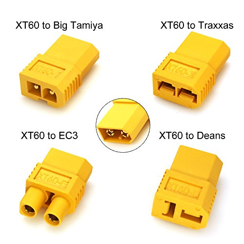 Discount Amass XT60 Male to Deans T connector EC3 Traxxas Big Tamiya Plug Female Connector Converter Adapter For RC Lipo Battery Set
