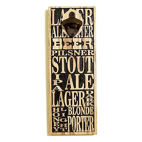 - Wall Mount Bottle Opener with Magnetic Cap Catch, Full Carved in Red Oak