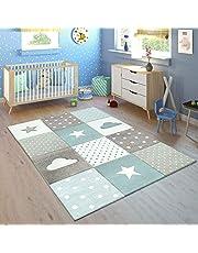 Paco Home Alfombra Infantil Habitación Cuadros Puntos Nubes Estrellas Pastel Azul Gris, tamaño:140x200 cm