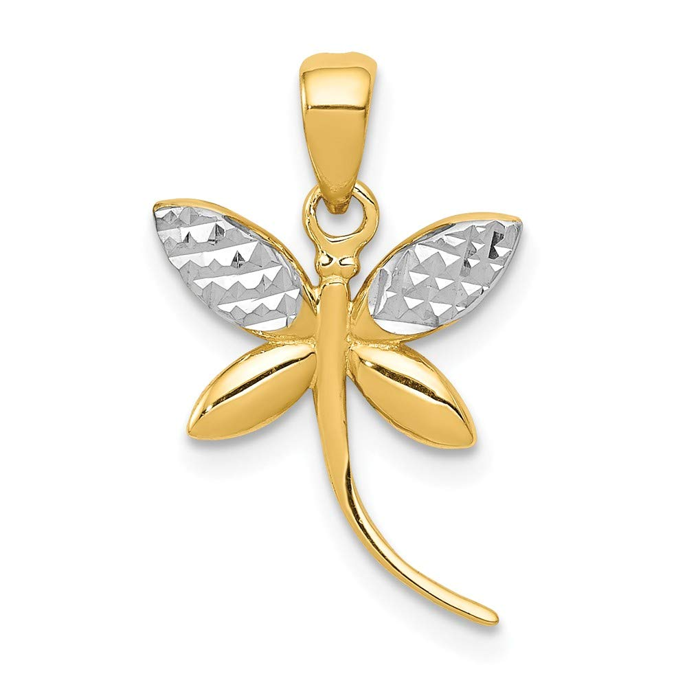 Mia Diamonds 14k Yellow Gold with Rhodium Diamond-Cut and Polished Dragonfly Pendant