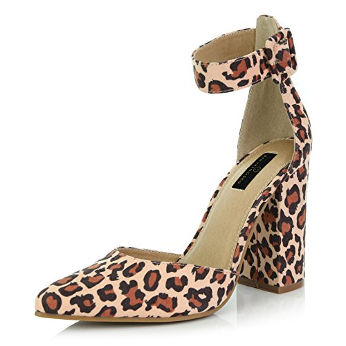 DailyShoes Women's Casual Pointed Toe Chunky Ankle Strap Buckle High Heels Sandals, Leopard Suede, 5 B(M) US - Buckle Strapped Platform