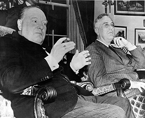 (Posterazzi Winston Churchill and Franklin Roosevelt in a Living Room Photo Print (10 x 8))