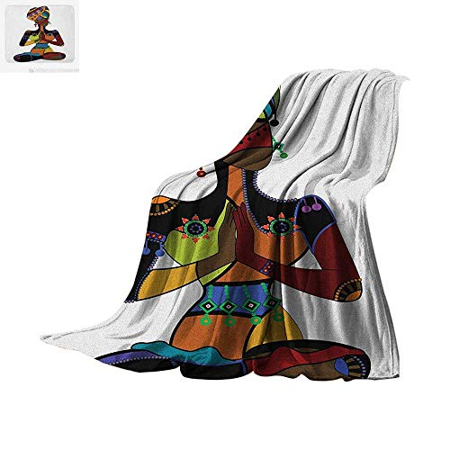 Yoga Custom Design Cozy Flannel Blanket Woman Figure in Ethnic Style Costume Praying Culture Religion Enlightenment Grace Digital Printing Blanket 60