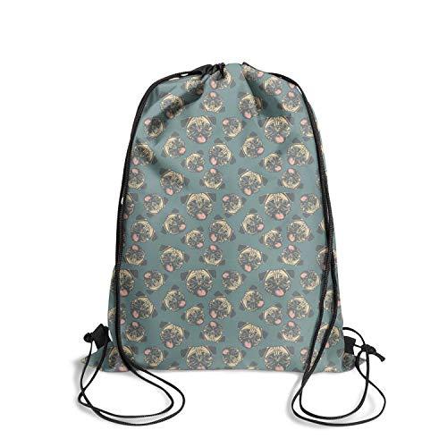 Drawstring Backpack Bag happy pug fest blue Backpack Travel Gym Bags